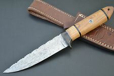 "HUNTEX Handmade Damascus 10"" Long Olive Wood Hunting Dagger Knife & Sheath"