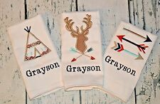 PERSONALIZED Tribal Burp Cloth set of 3 - Boys Deer Teepee and Arrow Baby Set