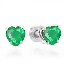 1.30 CT 10K White Gold Heart Shape Natural Green Emerald Ladies Stud Earrings