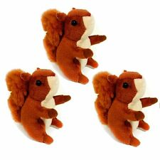 Pack of 3 Small Squirrel Soft Toys - Cuddly Stuffed Animals - For All Ages (0+)