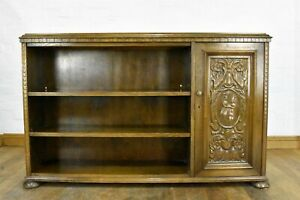 Antique vintage carved oak open bookcase - display shelving with cupboard