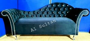 Black Velvet Tufted Chesterfield Chaise Lounge Sofa Bedroom Accent Chair Bench