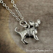 Silver Chihuahua Charm Necklace - Puppy Dog Chi Pendant Jewelry NEW