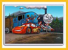"DISNEY CARS LIGHTNING McQUEEN AND THOMAS THE TRAIN 11"" X 17"" DIGITAL ART PRINT"