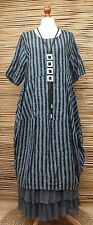 LAGENLOOK LINEN BEAUTIFUL STRIPED BALLOON LONG DRESS*BLUE/BLACK*BUST UP TO 48""
