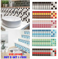 10PCS Kitchen Tile Sticker Bathroom Mosaic Sticker Self-adhesive Wall Home Decor
