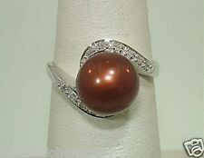 10.1MM CULTURED FW CHOCOLATE PEARL 14K WHITE GOLD 0.10CTS DIAMOND RING 7.0 #5