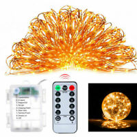 100/200LED Fairy Light copper String remote control Battery Powered 8 Function