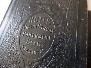 VICTORIAN C.1880s GERMAN PARCHMENT SLATE NOTEBOOK WRITING INSIDE EXHIBITION REFS