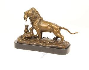 9937071-dss bronze skulptur figur löwe mit beute 28x45cm