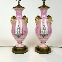 Pair Antique Old Paris Porcelain Neoclassical Lamps With Rams Heads