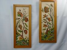Pair Folk Art Impressionist Paintings on Ceiling Tile Floral Butterfly Birds