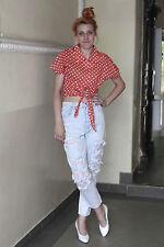 Damen bauchfrei Top Shirt bluse blouse rot weiß red 60er True VINTAGE 80´s women