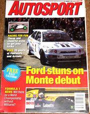 Autosport 28/1/93* MONTE CARLO RALLY -JORDAN 193 POSTER -FOOTWORK ARROWS PROFILE