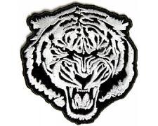"(L05) Large WHITE BARON TIGER 9.5"" x 10"" iron on Back patch (3525) Biker vest"