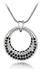 White & Black Rhinestones Moon Design Circle Pendant Necklace N177