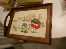 """Vintage Petit Point Design Wood Tray With Glass-Vg+ 12 1/2"""" X 9 1/4"""" X 2 3/4"""""""