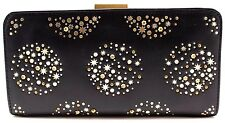 Fossil Black Women Clutch Wallet SL4392 Gold Star Genuine leather