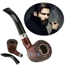 Carved Solid Wood Wooden Smoking Pipe Tobacco Cigarettes Cigar Pipes Gift NEW