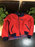 Vtg Patagonia Jacket Made In USA Red Nylon Dark Blue Fleece Full Zip Puffer