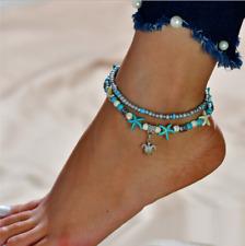 Anklet Beach Sandal Ankle Bracelet 2018 Boho Starfish Turquoise Beads Sea Turtle