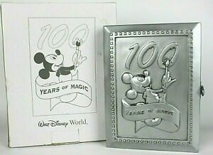 Disney 100 Years Of Magic Pewter 4x6 Folding Frame W/ Mickey Mouse Artist Pin