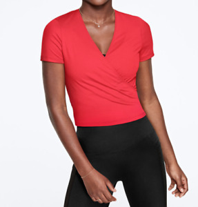 Victoria Secret PINK Top Womens XS to XL New Candy Coral Red Ultimate Wrap Shirt
