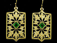 P022- Spectacular GENUINE 9ct Yellow Gold NATURAL Emerald & DIAMOND Earrings