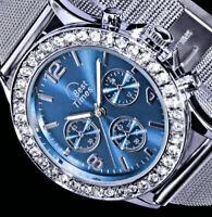 Best Times Damen Uhr Hell Blau Silber Farben Mesh Milanaise Armband Strass BT-1