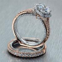 2Pcs 925 Silver White Topaz Ring Wedding Engagement Women Fashion Jewelry 5-10