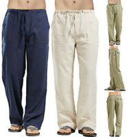 Casual Men's Straight Loose Trousers SF Drawstring Cotton Solid Linen 2019 Pants