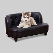 PawHut Pet Bed Sofa Chair Dog Soft Comfy Cat Sofa PU Couch House 67L Black Home