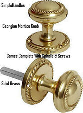 Georgian Polished BRASS Sprung Mortice Door Knobs 60mm Diameter Rose 50mm Knob