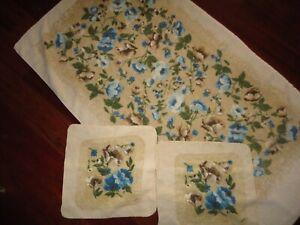 VINTAGE R A BRIGGS BLUE GREEN BROWN FLORAL (3PC) SET BATH TOWEL & WASHCLOTH