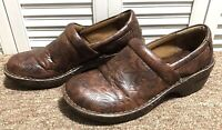 Womens Size 9.5 / 41 BOC Born Concept Peggy Brown Leather Tooled Clogs Shoes