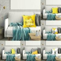 Yellow Polyester Pillow Case Sofa Car Waist Throw Cushion Cover Home Party X3T9