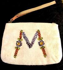 NEW ANTHROPOLOGIE M INITIAL IVORY MULTI SEQUIN WRISTLET HANDBAG CLUTCH POUCH BAG