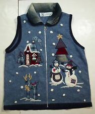 *Nwt* Studio Collection Womens Ladies Blue Holiday Zip Up Vest Sz Medium J20