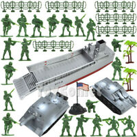 32 pcs Military Playset Landing Craft & Tanks with Green Army Men Toy Soldiers