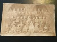 Vintage Postcard Real Photograph Social History. Large Group Of Young Boys.