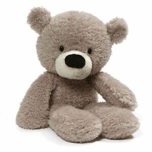 "GUND Fuzzy Grey Teddy Bear 14""/36cm stuffed animal soft plush toy NEW"