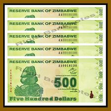 Zimbabwe 500 Dollars x 5 Pcs, 2009 P-98 Revised Trillion Unc