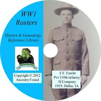 World War I Rosters & Honor Rolls WW 1 one lists names - 54 books on DVD CD
