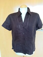 Ladies TU brown Linen Top Size 14 Blouse Summer Casual