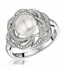 Bagues avec diamant en or blanc perle