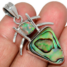 Mermaids Dream Abalone & Ethiopian Opal Rough 925 Silver Pendant AP188227