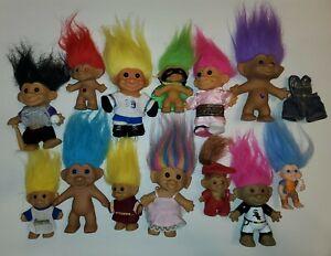 Vintage lot Trolls old  troll dolls 80's 90's older Rare ? Clothes jewels + more