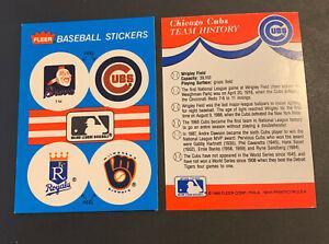 1989 Fleer Sticker Vintage Atlanta Braves Chief Noc-a-Homa Cubs Royals Brewers