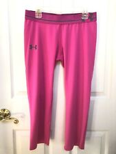 Under Armour Pink Gray Yoga Fitness HeatGear Fitted Athletic Pants Sz Youth XL