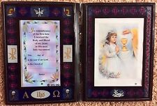 Girl Communion Plastic Stained Glass Look Frame Remembrance Gift  NEW